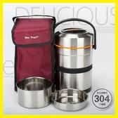 304不銹鋼保溫飯盒提鍋3層便當帶飯盒超長大容量保溫桶