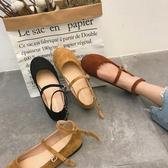 韓范氣質東大門復古百搭純色絨面圓頭套腳淺口系扣娃娃鞋平底單鞋