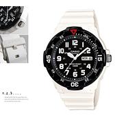 CASIO卡西歐MRW-200HC-7B指針錶 黑面 數字時刻 白色橡膠 47mm 男錶 時間玩家 MRW-200HC-7BVDF