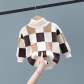 兒童毛衣 男童寶寶毛衣2019新款秋冬款洋氣小童秋裝兒童加厚上衣高領套頭潮