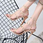 高跟鞋透明玻璃膠水晶鉚釘網紅涼鞋T型一字扣露趾細跟高跟高幫宴會女鞋 【時髦新品】