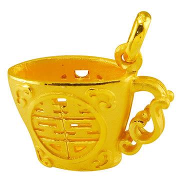 甜蜜約定金飾-交杯酒-黃金墜子 杯子 酒杯 金飾
