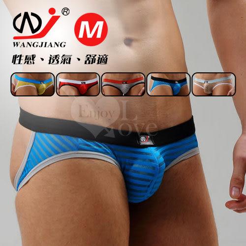 男情趣內褲 【網將WJ】條紋網紗半透明性感露臀造型褲﹝藍M﹞