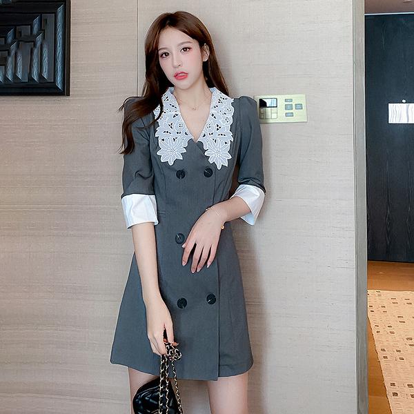 第二件5折 韓系氣質雙排扣西裝領拼色七分袖長袖洋裝