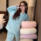 睡衣 白色珊瑚絨睡衣女秋冬春季2020新款加厚毛絨家居服套裝網紅可外穿【快速出貨八折特惠】