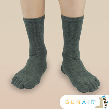 sunair 滅菌除臭襪子-中筒五趾襪 (L25~29) (灰) /SA2202