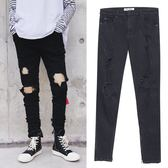 FINDSENSE G6 韓國時尚 男士高街膝蓋破洞黑色牛仔褲腳口拉鍊男褲窄管褲