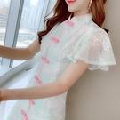 裙子 洋裝 禮服春夏中國風改良旗袍荷葉袖...