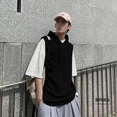 韓版學生運動無袖T恤帶帽衫寬鬆衛衣連帽背心男夏季【聚物優品】