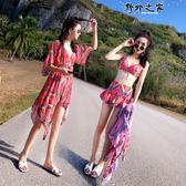 水母衣 泳衣女三件套韓國溫泉小香風分體裙式罩衫比基尼性感小胸聚攏泳裝  野外之家DF