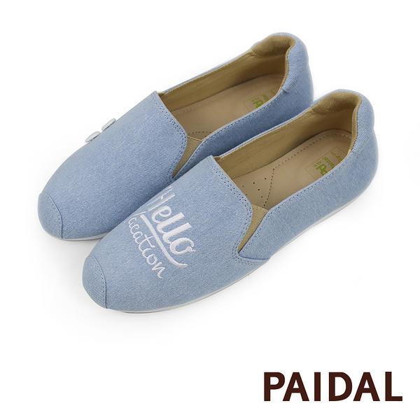 Paidal Hello單寧字母鞋休閒鞋樂福鞋懶人鞋