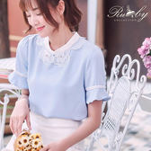 上衣 露比設計櫻花水鑽釘珠短袖上衣-藍-Ruby s露比午茶