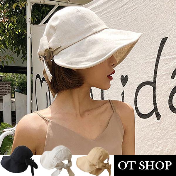 [現貨]帽子 大帽檐蝴蝶結 帽檐軟鐵絲 棉質透氣內裡 遮陽帽 穿搭配件黑/駝/米 C2098 OT SHOP