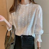 DE SHOP~甜美少女的上衣洋氣襯衫蕾絲鈎花燈籠長袖襯(XA-9808)