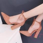 春夏季正韓尖頭外貿大尺碼絨面高跟鞋系帶女鞋粗跟氣質包頭單鞋 【降價兩天】