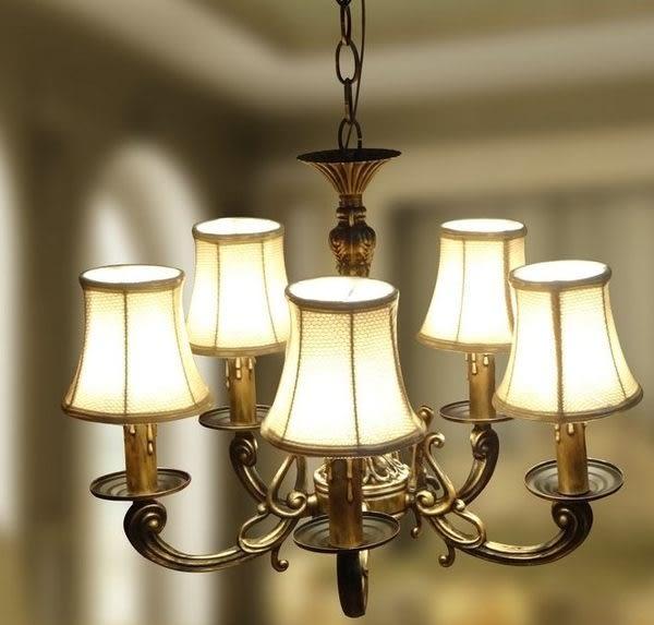 設計師美術精品館歐式現代簡約創意田園風美式個性古銅複古布藝燈罩五頭吊燈燈具