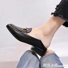 鞋子女潮鞋百搭小皮鞋女英倫風粗跟中跟女士兩穿春季網紅單鞋 蘇菲小店