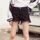 牛仔短褲美特斯邦威牛仔褲女夏季新款潮流時尚修身毛邊牛仔短褲商場款 suger