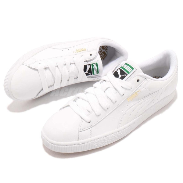 Puma 休閒鞋 Basket Classic LFS 白 全白 低筒 皮革鞋面 運動鞋 女鞋 男鞋【ACS】 35436717