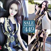 克妹Ke-Mei【ZT46328】泰國潮牌 復古民族風印花V附小可愛連身褲