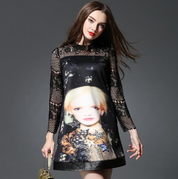 卡樂store...中大尺碼女裝頭像印花蕾絲拼接長袖連身裙 XL-5XL #zr2301