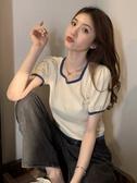 夏季2020新款法式方領泡泡短袖冰絲針織衫女短款顯瘦紫色T恤上衣快速出貨