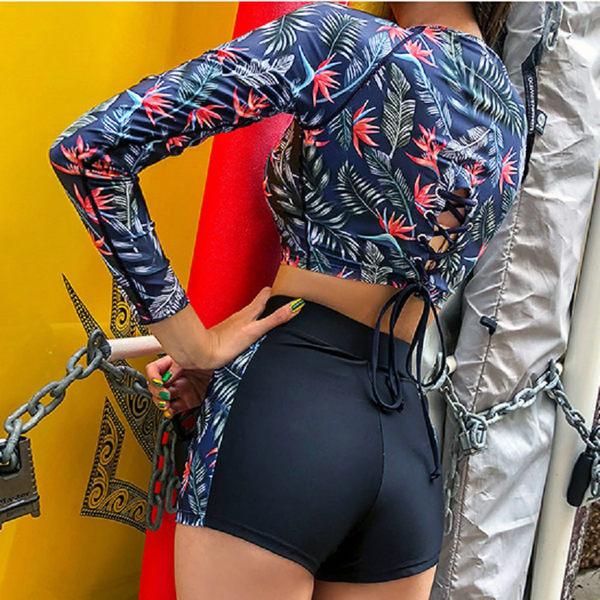 梨卡★現貨 - 性感綁帶[高腰遮肚+顯瘦]保守款印花圖騰二件式長袖防曬比基尼兩截式泳裝泳衣CR459
