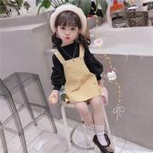 韓國女寶寶秋裝套裝韓版女童超洋氣韓版背帶裙兩件套時髦嬰兒童裝