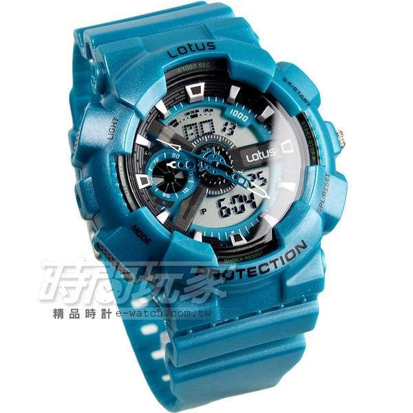 Lotus 時尚錶 多功能潮流設計雙顯電子腕錶 男錶 橡膠錶帶 LS-1026A-06綠色 計時碼錶 日期 全自動日曆
