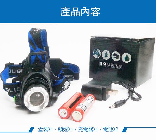 單眼爆亮強光燈芯 含充電器+18650電池x2 伸縮調光雙鋰電 登山露營 釣魚頭燈