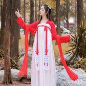 改良式漢服 新款漢服女中國風對襟齊胸襦裙飄逸清新淡雅日常古裝 df11424【Sweet家居】