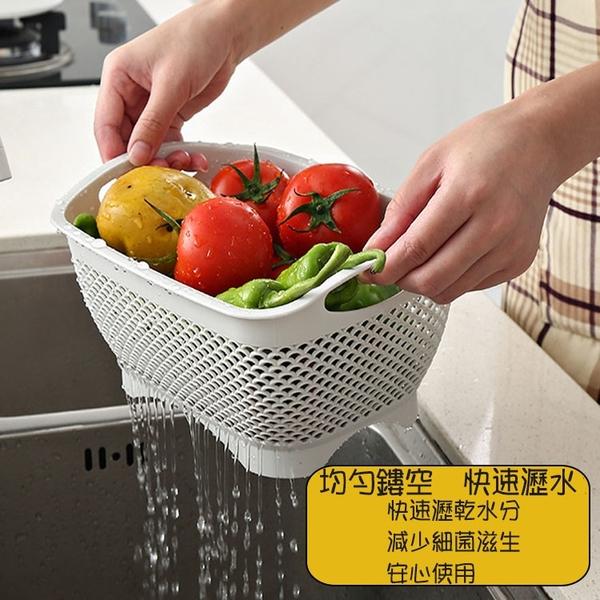 <大號>北歐風多功能藤編瀝水收納籃+防塵蓋(托盤) 蔬果籃 【AE02716-WHL】 i-Style居家生活