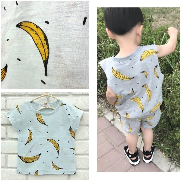 【韓版童裝】正韓--BLUETEEN.JR--香蕉印花竹節棉T恤上衣--藍【4045b135537】