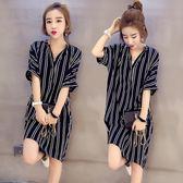 (全館一件免運)DE SHOP~(YU-1121)韓版加寬加大碼女裝中長款長版數條紋短袖襯衫連身裙洋裝