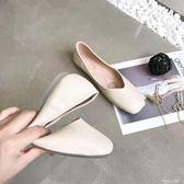 孕婦鞋 韓版復古淺口百搭軟底方頭防滑單鞋女平底奶奶鞋孕婦 傾城小鋪