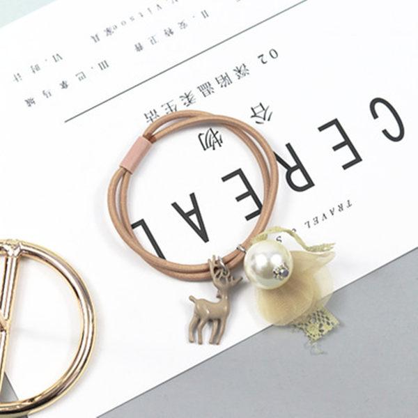 【O-ni O-ni】韓版女性雙層髮圈糜鹿珍珠造型款式彈力圈S925-39土黃色