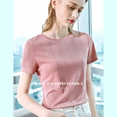 短袖T恤豎條織面冰絲針織衫圓領上衣(三色S-2XL可選)/設計家 AL301985