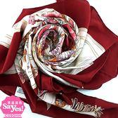 【奢華時尚】秒殺推薦!GUCCI 酒紅色邊白色底花卉印花絲質大披肩圍巾(八五成新)#22602