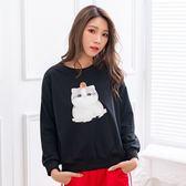棉T--可愛番茄小貓印花羅紋落肩寬鬆百搭舒適圓領長袖T恤(黑.粉XL-3L)-F149眼圈熊中大尺碼◎