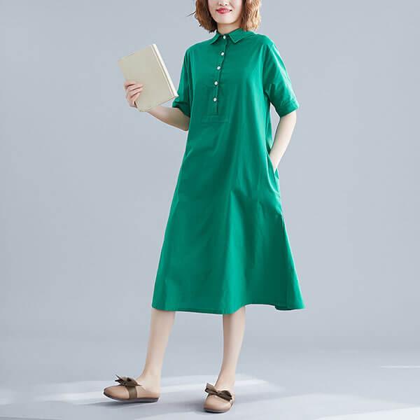 素色開襟傘狀洋裝-中大尺碼 獨具衣格