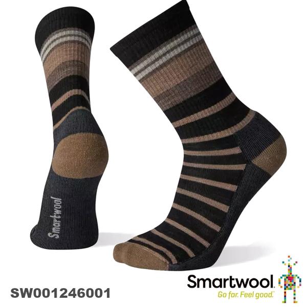 【速捷戶外】Smartwool 美麗諾羊毛襪 SW001246001 輕量減震徒步條紋中長襪(黑),登山/健行/旅遊