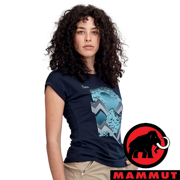 【MAMMUT 長毛象】女 快乾圓領短袖T恤『藏青』1017-00962 戶外 露營 登山 夏季 排汗 舒適