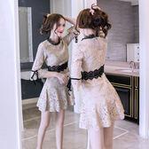 洋裝 韓版 長袖蕾絲連身裙 婚禮小禮服 花漾小姐【預購】