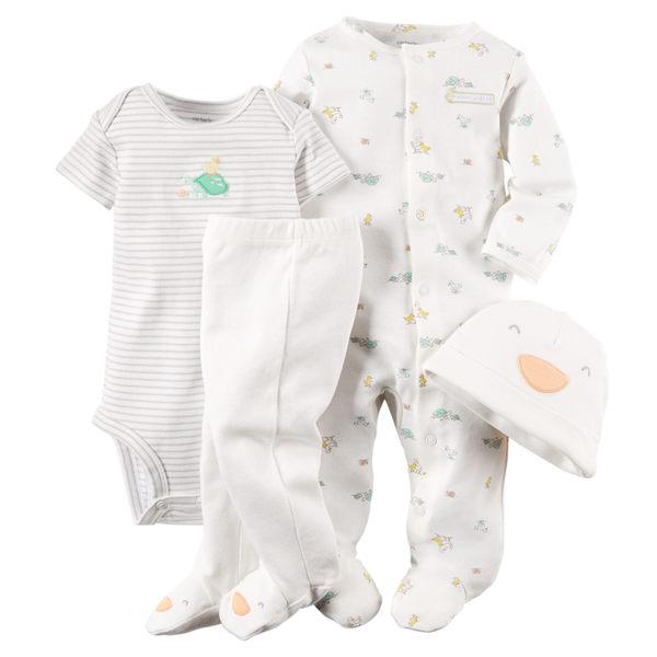 【美國Carter's】套裝四件組-新生兒純棉系列 長袖包腳連身衣+短袖包屁衣+連腳褲+嬰兒帽  121D646