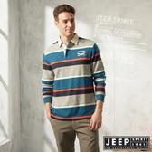 【JEEP】經典條紋長袖POLO衫 (藍綠)