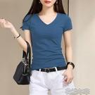 低胸T恤春夏新款百搭純棉短袖T恤女白色修身顯瘦V領黑色緊身上衣韓版 快速出貨