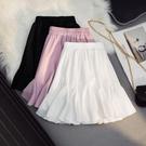 魚尾蛋糕百褶半身裙女2021春夏新款顯瘦高腰a字小個黑白色短裙子 pinkq時尚女裝