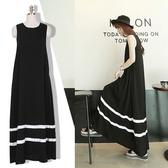 莫代爾背心長裙夏季新款女裝韓國寬松黑色無袖大擺洋裝氣質 藍嵐