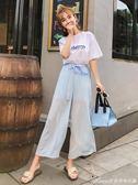 新款闊腿褲女夏雪紡九分寬鬆薄款休閒褲垂感高腰網紗直筒褲子艾美時尚衣櫥