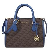 MICHAEL KORS HOPE 中款 滿版拼接兩用包 手提包 斜背包(藍色)-35T0GWXM8B